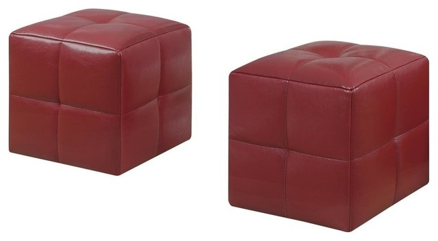 Fabulous Juvenile Ottomans Set Of 2 Red Material Faux Leather Evergreenethics Interior Chair Design Evergreenethicsorg