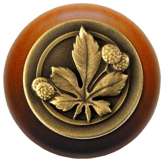 Horse Chestnut Wood Knob, Antique Brass, Cherry Wood ...