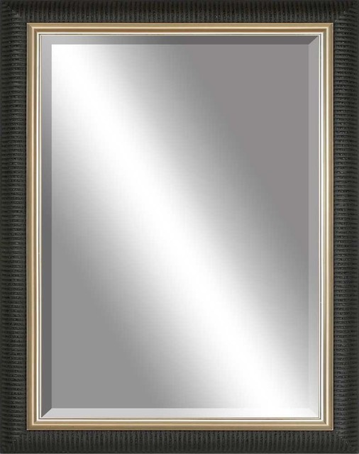 Beveled Mirror Ribbed Black Gold Inlay Contemporary Wall Mirrors By Paragon Decor