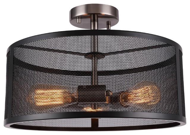 Woodbridge Lighting Drake 3-Light Semi-Flush With St64 Bulb.