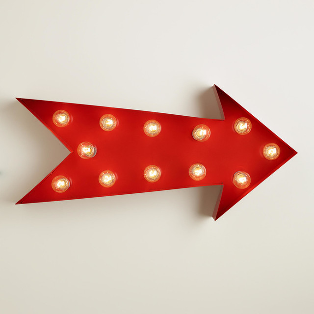 Arrow Marquee Light Eclectic Lighting By Cost Plus