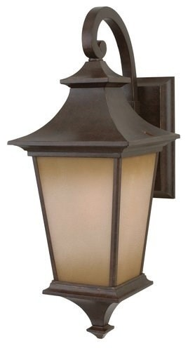 Argent 1-Light Wall Mount, Aged Bronze With Champagne Frost Glass, Small.