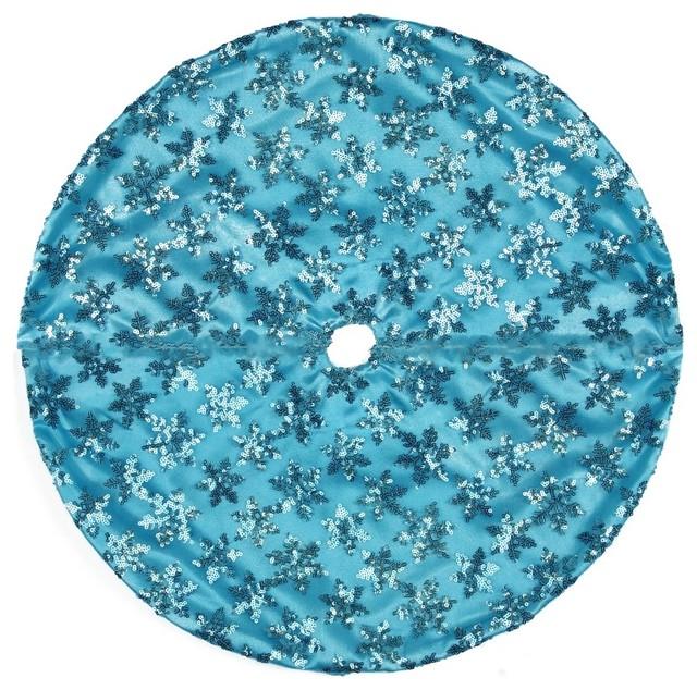 Mini Christmas Tree Skirt Pattern.20 Decorative Blue Sequin Snowflake Pattern Mini Christmas Tree Skirt