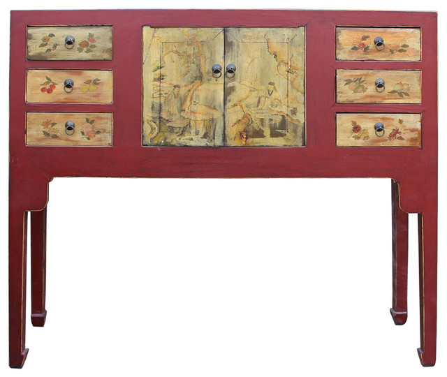 Chinese Oriental Red Graphic Tall Narrow Side Console Foyer Table Cs2343  Asian Console Tables