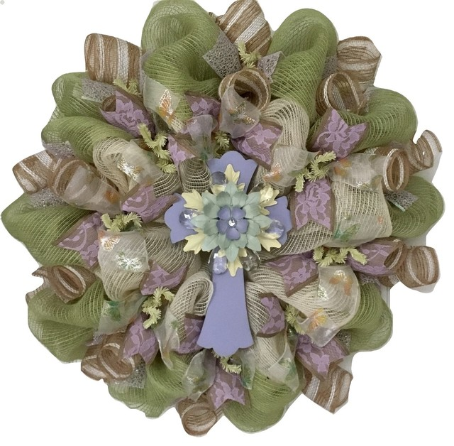 Pastel Crystal Cross Inspirational Deco Mesh Wreath.