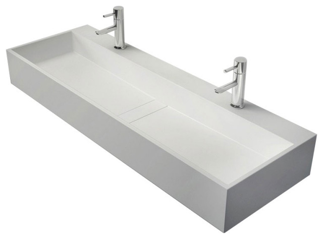 "47"" Wall-Mount Double Sink Stone Resin Bathroom Sink with Two Faucet Hole, M"