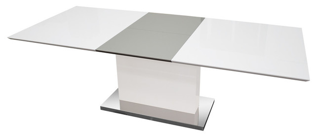 Alaskan Extendable High Gloss White Gray Dining Table Contemporary Dining Tables By Furniture Import Export Inc