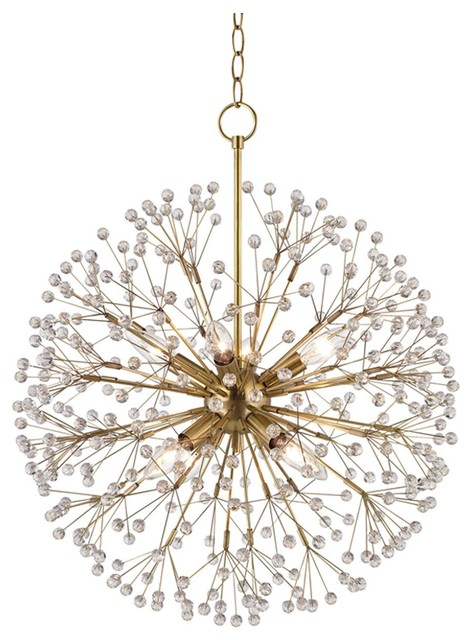 Hudson Valley Dunkirk Bold and Glamorous 8-Light Chandelier, Aged Brass