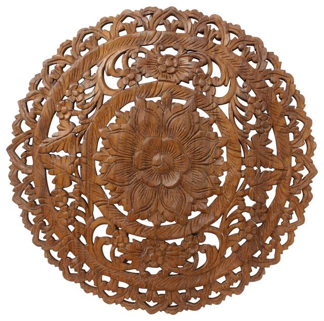 Lotus Wall Panel Teak Inlay Round, Natural Wax Finish, Brown Stain.