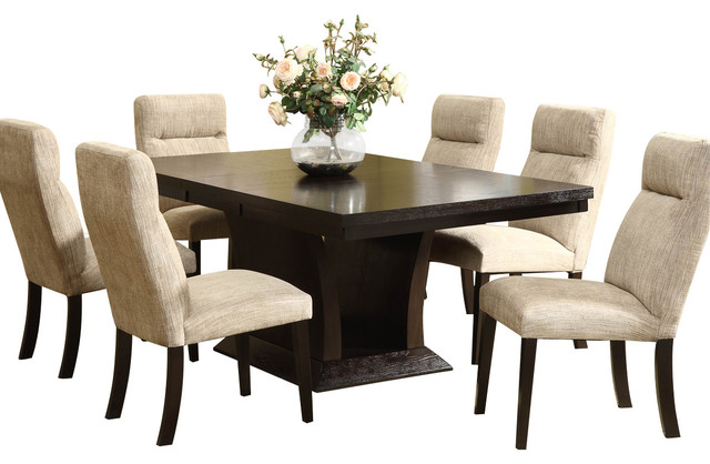 Perfect Homelegance Avery 7 Piece Pedestal Dining Room Set, Espresso Dining Sets
