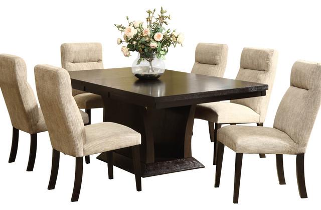 homelegance avery 7 piece pedestal dining room set in espresso rh houzz com dark espresso dining room set dark espresso dining room set