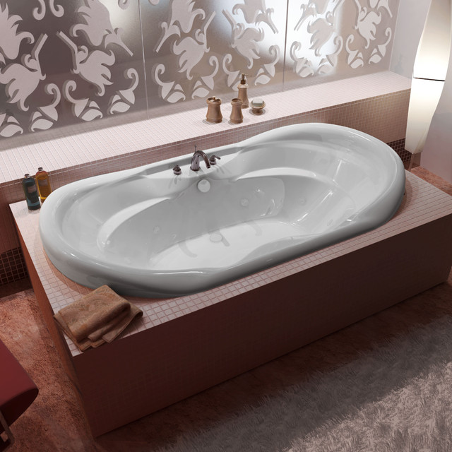 "Venzi Aline 41""x70"" Oval Whirlpool Jetted Bathtub, Center Drain With Right Pump."