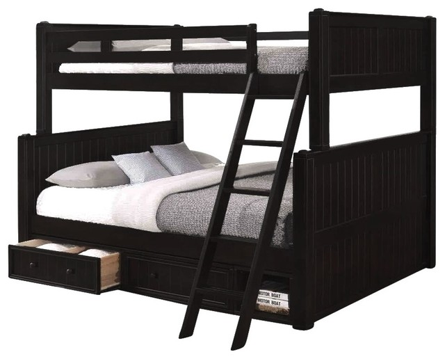 Beatrice Black Full Over Queen Bunk Bed With Underbed Storage Drawers