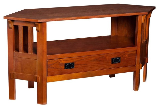 Carson Corner Media Stand, Brown Mahogany - Traditional - Entertainment Centers And Tv Stands ...