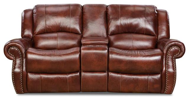 Telluride Leather Double Reclining Loveseat In Oxblood.