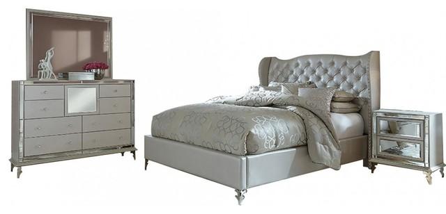 AICO Hollywood Loft Upholstered Platform Frost Bedroom Set, Queen