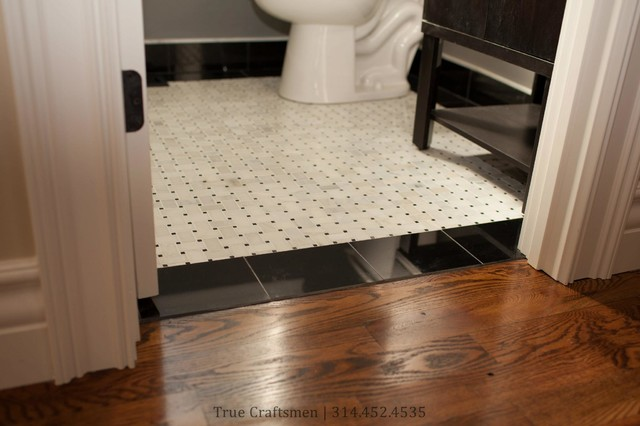 Retro Bathroom Hexagon Floor With Marble Basketweave Contemporary
