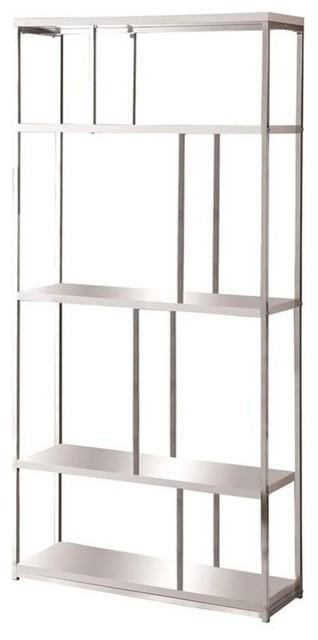 Monarch 4 Shelf Bookcase Glossy White And Chrome