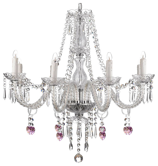 8 Light Pink Heart Crystal Chandelier 28 X28 Traditional