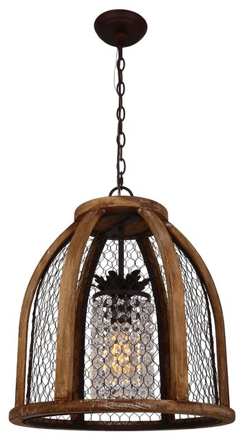 Scroll Distressed Pendant Light, Antique Brown.