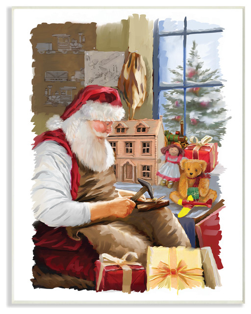 Holiday Santa Creating Toys And Winter Window Scene Painting Plaque Contemporary Prints And Posters By Stupell Industries