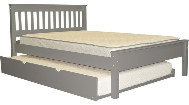 Bedz King Mission Style Full Bed With Full Trundle, Gray.