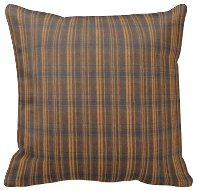 Dark Brown Decorative Pillow : Dark Brown Plaid Toss Pillow, 16