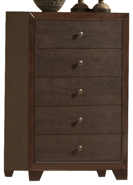 Crown Mark Furniture Silvia Drawer Chest, Chocolate Brown.