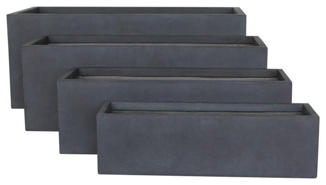 Rectangular Contemporary Light Concrete Trough Planter, Dark Grey, Extra Large