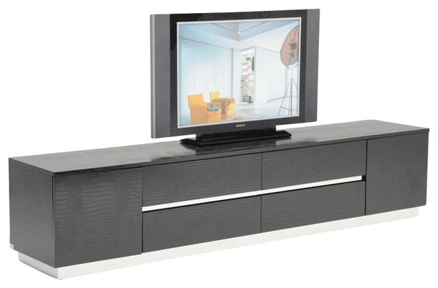 Exceptional Modern Media Units Ak588 230 Black Crocodile Textured Lacquer Entertainment  Tv Unit