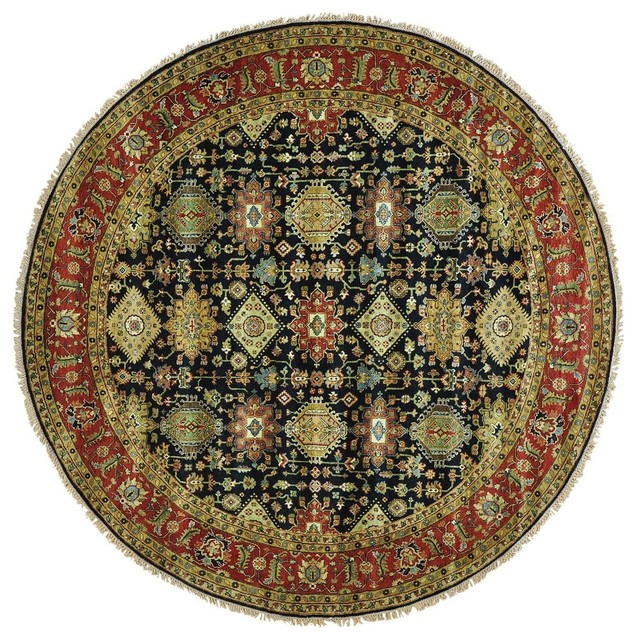 100 Wool Persian Area Rug: Hand-Knotted Round Karajeh 100 Percent Wool Oriental Rug