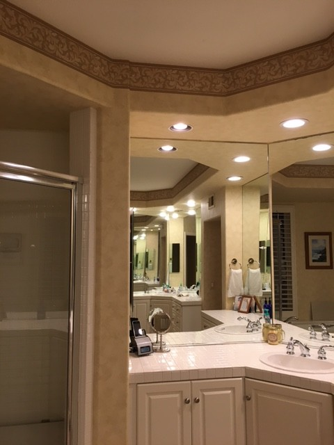 Need feedback on master bathroom layout -- Soffits? Mirrors? on bathroom soffit vent, bathroom with travertine and glass designs, soffit framing design, modern soffit design, best efficient kitchen design, raised panel walls design, contemporary interior soffit design, plumbing design, master bedroom suite design,