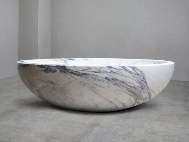 Italian arabescato marble bath contemporary baths for Limestone bathtub