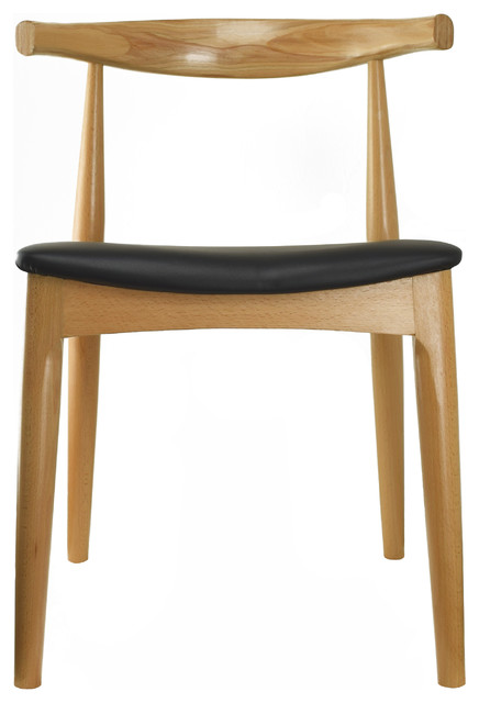 Real Oak Wood Pu Leather Cushion Seat Modern Wood Side Dining Chair, Natural.