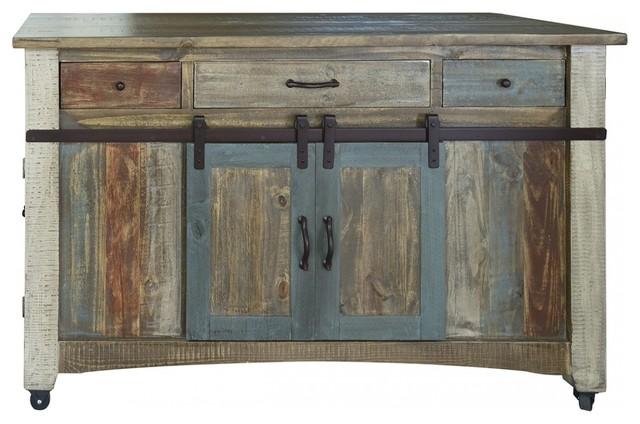 Anton Handmade Fully Built Wood Furniture Kitchen Island, Multicolor.
