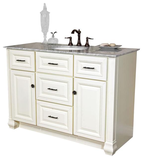 Bellaterra 50 Single Sink Bathroomvanity, White Finish, Marble Countertop.
