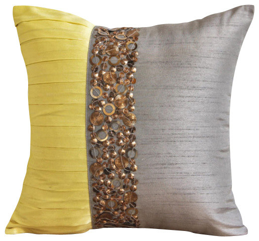 Gray Pintucks And Sequins 20x20 Silk Pillows Covers for Couch, Yellow Treasures