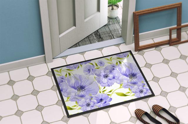 Watercolor Blue Flowers Indoor Or Outdoor Mat, 18x27.