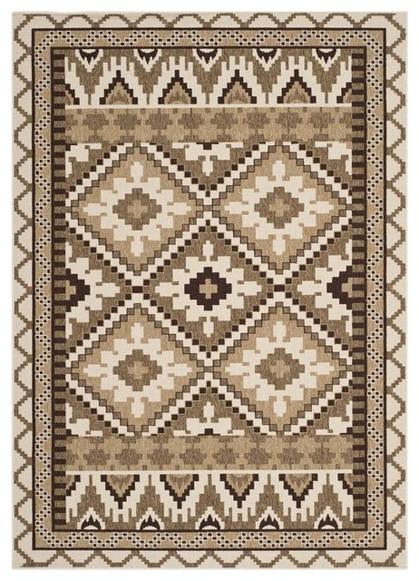 Modern Area Rug In Creme And Brown 7 Ft 7 In L X 5 Ft