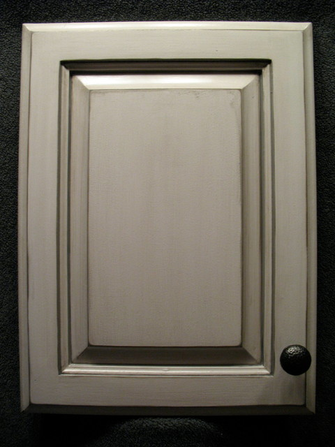 grey antiqued cabinet door glazing applied