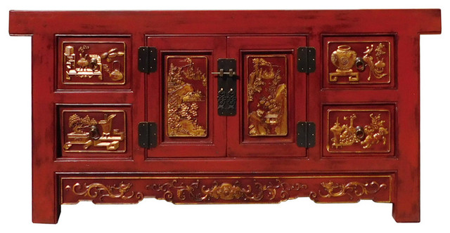 Chinese Carving Panel Rustic Red Low TV Console Cabinet Hcs1312 - Chinese Carving Panel Rustic Red Low TV Console Cabinet Hcs1312