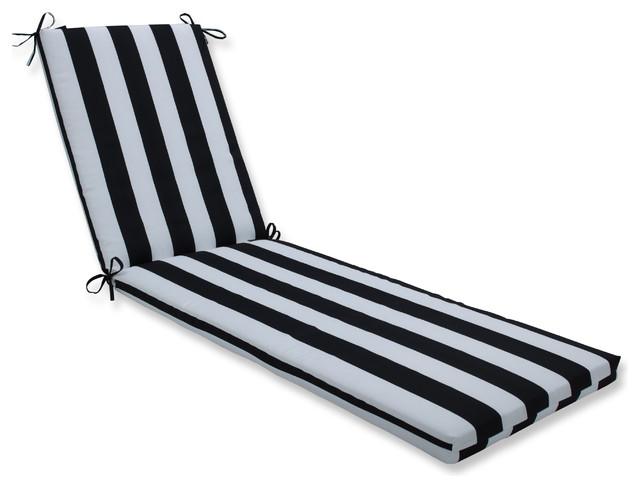 Outdoor Indoor Cabana Stripe Black Chaise Lounge Cushion 80x23x3