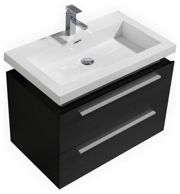 """Kube 32"""" Black Wall Mount Modern Bathroom Vanity With Vessel Sink."""