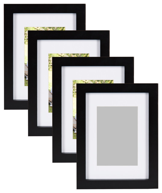 "Gallery Wood Picture Frame, Set of 4, Black, 8""x10"""
