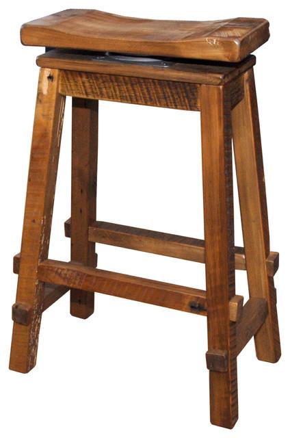 Reclaimed Barn Wood Bar Height Swivel Saddle Stool