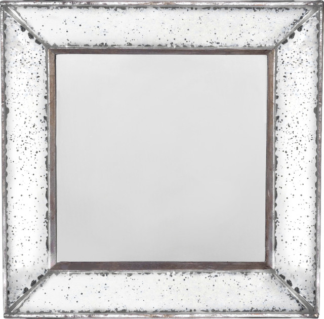 "Antique-Look Frameless Wall Mirror 12""x 12"". -1"