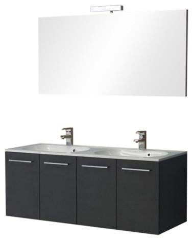 Boston Two-Door Double Bathroom Vanity Unit, Black, 120 cm
