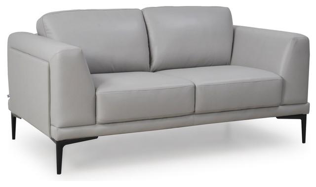 Kerman Full Top Grain Leather Contemporary Loveseat, Light Gray