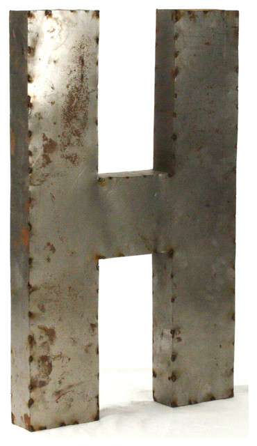 "Large Metal Alphabet Letters Custom Industrial Rustic Metal Small Letter H 18""  Industrial  Wall Design Ideas"