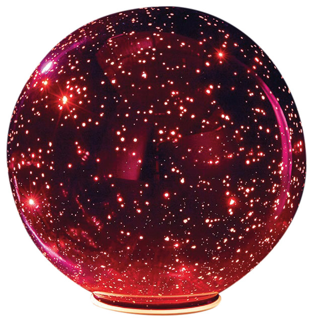 Lighted Mercury Glass Ball Sphere, Red, Large.